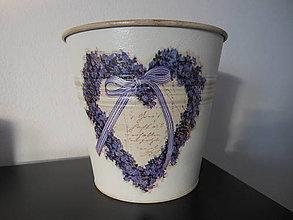 Nádoby - kvetináč levanduľové srdce - 10383779_