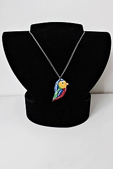 Náhrdelníky - Farebný vtáčik - 10387310_