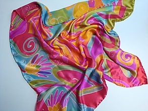 Šatky - Štvorcová maľovaná hodvábna šatka -  Výrazná elegancia pre odvážnu ženu - 10388282_