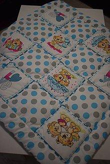 Textil - DĚTSKÁ PATCHWORKOVÁ DEKA..modrá - 10388514_