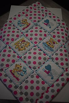 Textil - DĚTSKÁ PATCHWORKOVÁ DEKA...růžová - 10388522_