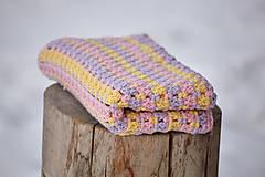 Fialovo-žlto-ružová detská deka