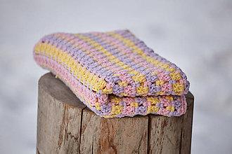 Textil - Fialovo-žlto-ružová detská deka - 10387396_