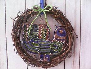 """Dekorácie - Prírodný venček na dvere """"... vtáčik modráčik ..."""" - 10387050_"""