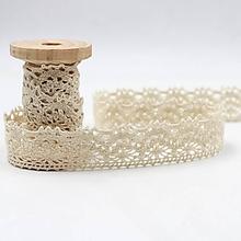 Galantéria - krajka bavlnená béžová 25mm - 10386443_