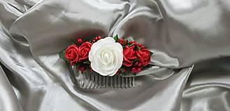 Svadobný červeno biely kvetinový hrebeň do vlasov