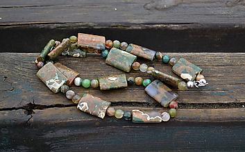 Náhrdelníky - Zelený opál , achát náhrdelník - 10386601_