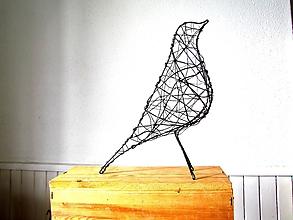 Socha - minimalistický vtáčik * 27 cm - 10387170_