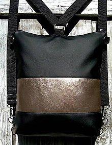 "Batohy - ""backpack 2in1 black&bronze"" - Batoh & taška cez rameno - 10387052_"