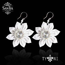 Náušnice - Náušnice: Biele kvety striebro Ag 925 - 10385326_