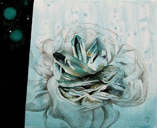 Krystalická květina - kombinovaná technika