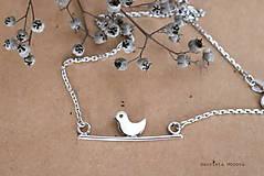 Náhrdelníky - strieborný náhrdelník CUTE WILDNESS  (VTÁČIK rhodiovaný) - 10385488_
