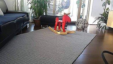 Úžitkový textil - Ručne háčkovaný koberec GREY-SILVER - 10385656_