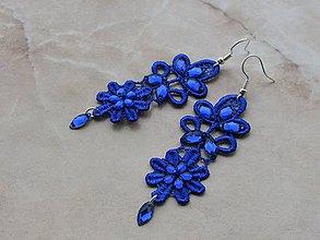 Náušnice - Modré krajkové - 10386827_