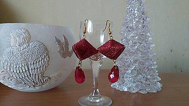 Náušnice - Červené so slzou - 10390733_