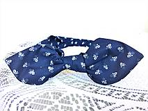 Ozdoby do vlasov - Pin Up headband on elastic (dark blue folklore) - 10388633_