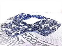 Ozdoby do vlasov - Pin Up headband on elastic (white/dark blue folklore hearts) - 10388685_