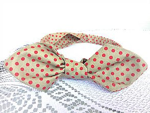 Ozdoby do vlasov - Pin Up headband on elastic (beige/red dots) - 10388689_