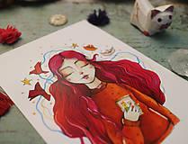 Grafika - Dievčatko s fotografiou - 10390554_