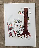 Obrazy - Vevericka a jej stromodom / reprodukcia mojej Ilustrácie - 10388712_