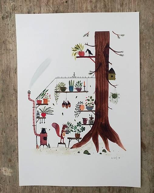 Vevericka a jej stromodom / reprodukcia mojej Ilustrácie