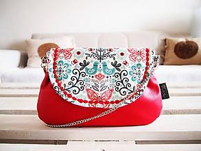 Kabelky - Folk kabelka s červenou koženkou - 10391848_