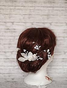 Ozdoby do vlasov - Luxusný svadobný romantický kvetinový hrebienok - 10388540_