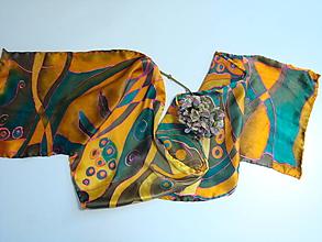 Šatky - Hodvábny šál v zemitých medenozelených farbách - 10388953_