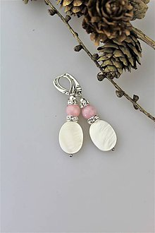 Náušnice - perleť a ruženín náušnice - 10392835_