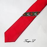 Doplnky - červená kravata s troškou folku - 10390648_
