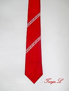 Doplnky - červená kravata s troškou folku (B) - 10390670_