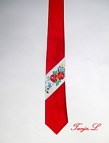 Doplnky - červená kravata s troškou folku (C) - 10390672_