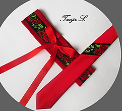 "Opasky - červeno-čierny set ""ona a on"": opasok + kravata - 10390801_"