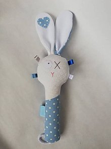 Hračky - Látková hrkálka - tyrkysová (Modrá) - 10392270_