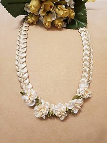 Náhrdelníky - Náhrdelník zo saténových stužiek s ružičkami (Béžová) - 10391739_