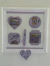 Originální obrázková koláž levandulová bílý rám