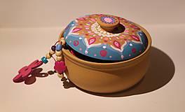 Krabičky - Maľovaná kameninová dóza - 10390162_