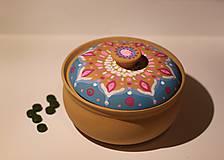 Krabičky - Maľovaná kameninová dóza - 10390181_