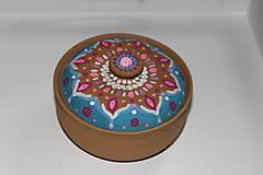 Krabičky - Maľovaná kameninová dóza - 10390183_