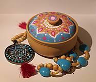 Krabičky - Maľovaná kameninová dóza - 10390185_