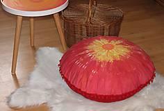 Úžitkový textil - Ručne maľovaný batikovaný meditačný vankúš - 10390542_