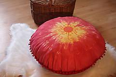 Úžitkový textil - Ručne maľovaný batikovaný meditačný vankúš - 10390548_