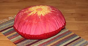 Úžitkový textil - Ručne maľovaný batikovaný meditačný vankúš - 10390550_