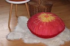 Úžitkový textil - Ručne maľovaný batikovaný meditačný vankúš - 10390596_