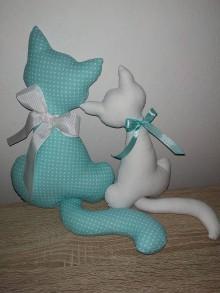 Dekorácie - Cica mica s mačiatkom (tyrkysová, biela) - 10392583_
