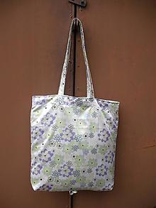 Nákupné tašky - biela taška s fialovými kvetmi - 10389559_