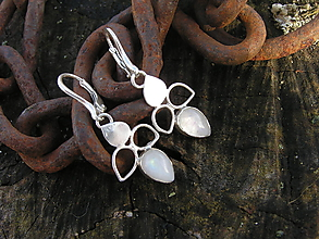 Náušnice - Strieborné náušnice Ag925 Mesačný kameň - 10389411_