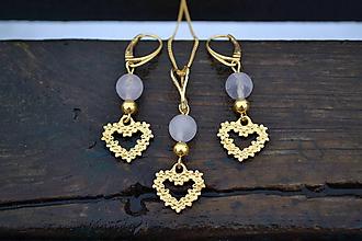 Sady šperkov - Srdcia sada retiazka s príveskom a náušnice v striebre - 10390124_