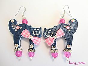 Náušnice - Náušničky mačičky modré s ružovou mašlou ) - 10389710_