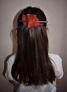 Ozdoby do vlasov - Spona do vlasov (Bordová) - 10392071_